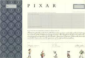 pixar stock certificates