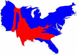 Cartogram of red states and
