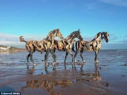 driftwood horses sculpture