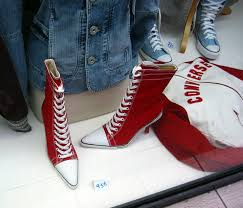 red knee high converse