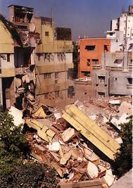 collapsed buildings