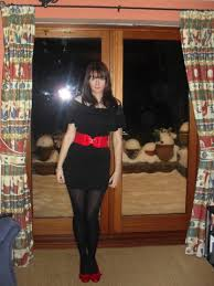 black dress red belt