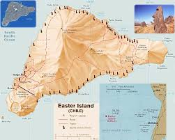 Easter Island Map, Chile (Isla