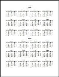 calendar of 2008 2009