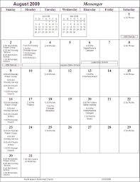 calendar july august 2009