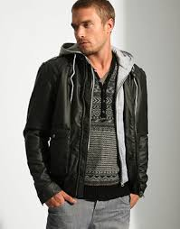 leather jacket hooded