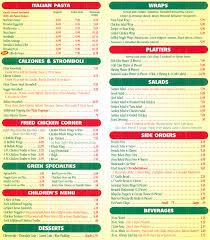 italian pasta menu