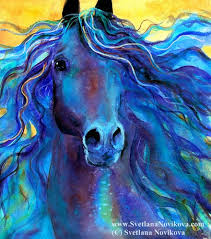 blue horse painting