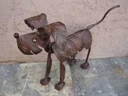 metal dog sculptures