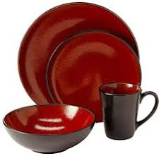 red and black dishes