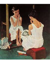 norman rockwell girl at mirror