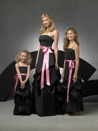 black and hot pink bridesmaid dresses