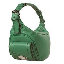 green leather bags