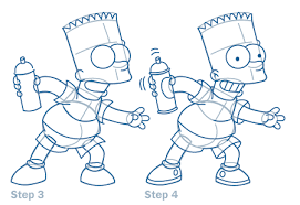 how to draw bart step by step