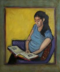 girl reading painting