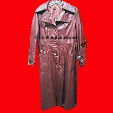 brown leather trenchcoat