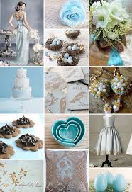 brown and blue wedding