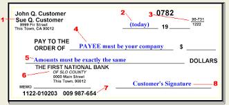 bank check sample