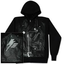 leather jacket and hoodie
