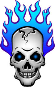 blue flaming skull