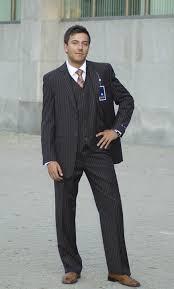 brown pin stripe suit