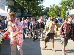 people running away