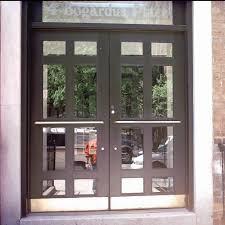 metal glass doors