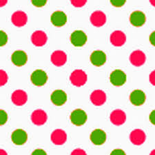 green and pink polka dot