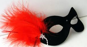 red and black masquerade mask