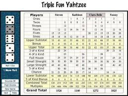 triple yahtzee score card