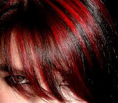 red highlights for dark hair