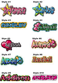 names in different styles