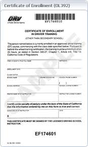drivers education certificate