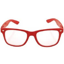red frame eyeglasses