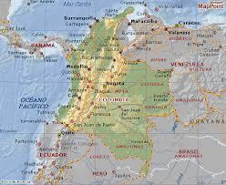 mapa de colombia con sus cordilleras