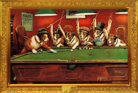 dogs playing pool art