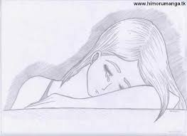 drawing of a girl crying