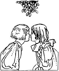 kiss under mistletoe