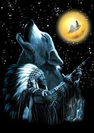 indian and wolf pictures