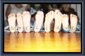 kids smelling feet