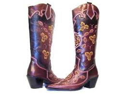 pink and brown cowboy boots