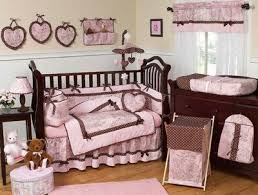 brown and pink baby rooms
