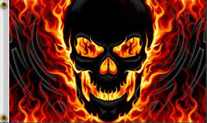 skulls flames