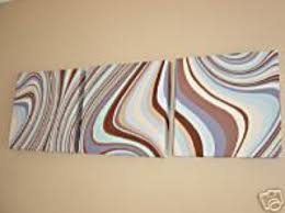 brown and blue wall decor