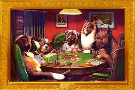 dogs playing poker art