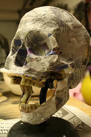 papier mache skull