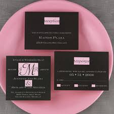 black white and pink wedding invitations