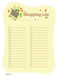 printable shopping lists