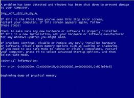 blue screen message