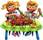 people eating clipart